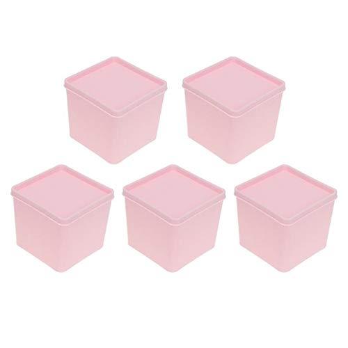 5pcs Plein Eten Container van de Opslag Koelkast Storage Box GroentenFruit Storage Box Scherper container met deksel (Color : Pink, Size : 8.2x8.2CM)