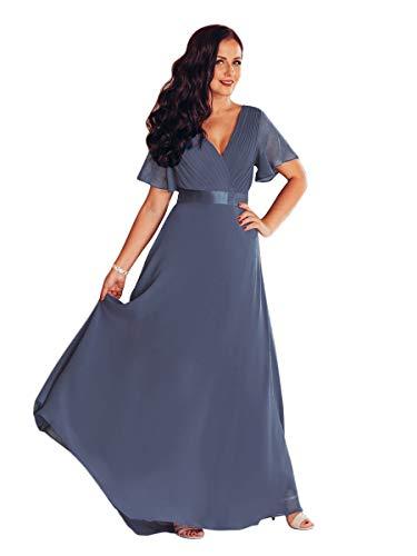 Ever-Pretty Vestiti da Cerimonia Donna Stile Impero Linea ad A Scollo a V Maniche Corte Lungo Dusty Navy 36