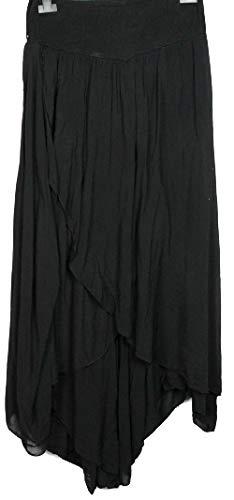 N A COLLECTION Neue Damen ITALIENISCHE CULLOTES Lagenlook Boho Harem Baggy Plain Draped Hosen (schwarz, Einheitsgröße)
