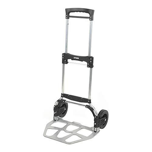 STIER Sackkarre klappbar, Aluminium Transportkarre, Belastbarkeit bis 120kg, Stapelkarre zum Transportieren