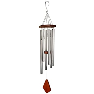 Nature's Melody Wind Chimes for Outdoor, Silver Tuned Unique Metal Tubes, 36""