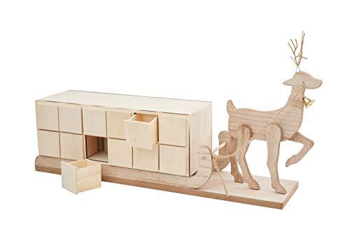 VBS Adventskalender Rentier mit Schlitten 52,5x12x29 cm mit 24 kleinen Holzkästchen