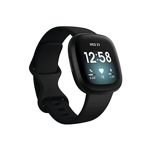Fitbit Versa 3 Health & Fitness Smartwatch with GPS, 24/7 Heart Rate, Alexa Built-in, 6+ Days Battery, Black/Black, One...