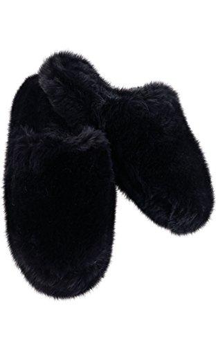 PajamaGram Women's Fuzzy Slippers Washable - Slip-On House Shoes, Black, 7/8