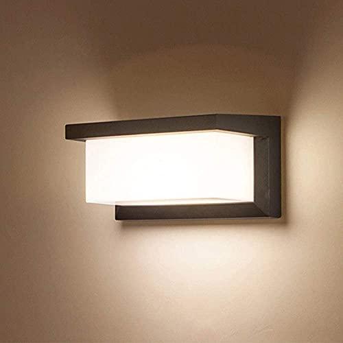 Combuh Aplique Pared LED Impermeable IP65 12W Aluminio Apliques de Exterior Adecuado para JardíN Frente Baño Porche Garaje Blanco CáLido 3000K 260 * 125 * 125 MM