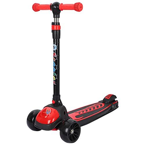 PTHZ Scooter Infantil, Scooter portátil Plegable de 3 Ruedas, con Mango de Altura Ajustable y Ruedas de PU Parpadeante, Scooter de Auto-Equilibrio Adecuado para niños de 3 años y Superior,Rojo