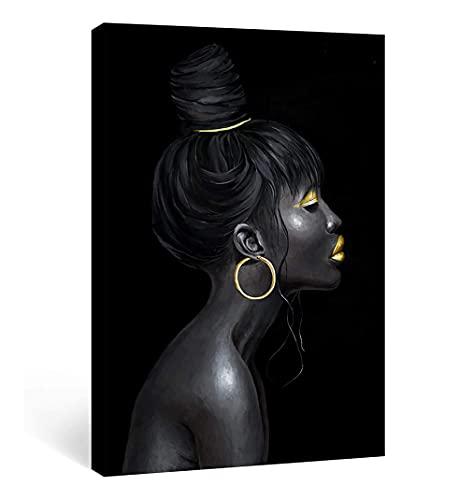 Imprimir Ilustraciones De Pintura De Acuarela, Cuadro De Arte Negro De Moda Moderna Retrato De Niña Afro Con Maquillaje Dorado Y Aretes De Oro Carteles Decor Pared De Lona, Sin Marco,50x75cm