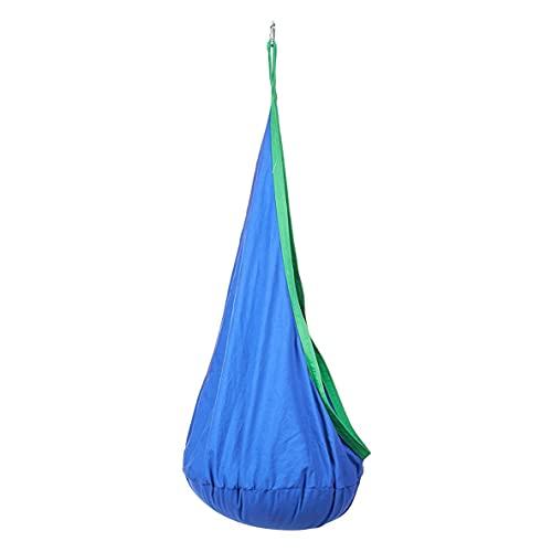 Libartly Hamaca Columpio Silla Colgante Cojín Inflable Y Extraíble para Niños Interior Y Exterior Hogar Y Jardín - Azul Verde 59 * 27.6 Pulgadas
