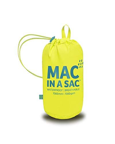 Mac in a Sac New Neon - Unisex Regenjacke - wasserdicht - mit Tasche zum Verstauen - Neonfarben - Neongelb - L