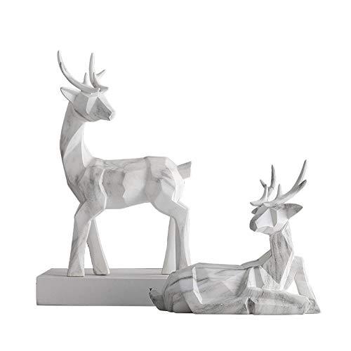 DAJIADS Figuras,Estatuas,Estatuillas,Esculturas,Simulación De Ciervos De Mármol Vena Animal Colofonia Artesanía para Salón Dormitorio Librero Escritorio Artesanía para La Decoración