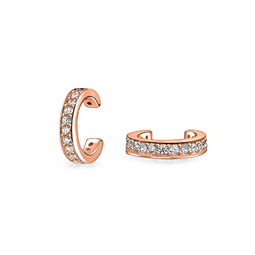 Minimalist Cubic Zirconia Pave CZ Band Cartilage Ear Cuffs Clip Wrap Helix Earrings Rose Gold Plated Sterling Silver