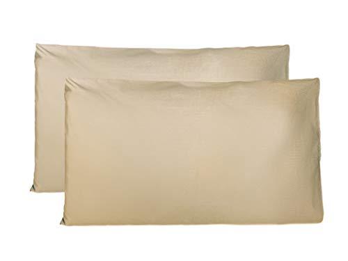 Coppia di Federe 100% Puro Cotone, Set di 2 Tessuti per Cuscino Letto Made in Italy, Chiusura a Busta, Tinta Unita, Misura Standard 50x80 CM