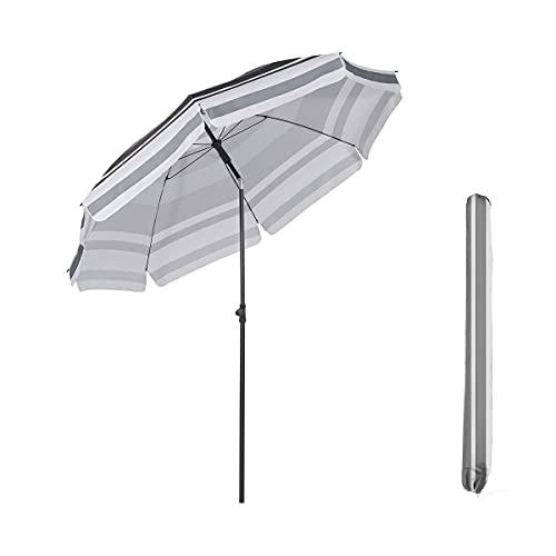 Sekey® Ombrellone Ø 240 cm Tondo Ombrello Parasole da Esterno da Giardino da Spiaggia Protezione Solare UV25+ Strisce Bianche Grigie