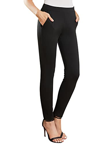 MYOURSA Work Dress Pants for Women High Waisted Skinny Leg Stretch Soft Comfy Office Business Casual Yoga Workout with Pockets Pull on Tummy Control (Black, X-Large)