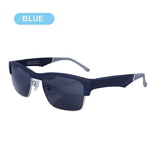 steadyuf 5 Gafas de conducción ósea Bluetooth inalámbrico BT5.0 Auriculares Gafas de Sol polarizadas Música estéreo Auriculares Impermeables con micrófono para iOS Android Marco Negro Mate Negro Azul