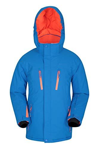 Mountain Warehouse Galactic Extreme wasserdichte Kinder-Skijacke - atmungsaktiver Wintermantel für Jungen und Mädchen, überklebte Nähte, Abnehmbarer Schneefang Kobalt 13 Jahre