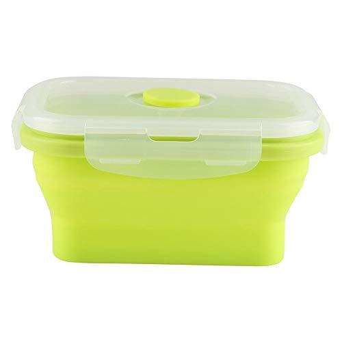 A sixx Contenitore per Alimenti Pieghevole Contenitore per Alimenti, Contenitore per Pranzo, Senza BPA, Non tossico 5,3 x 3,9 x 2,6 Pollici per Campeggio per Picnic(Green)