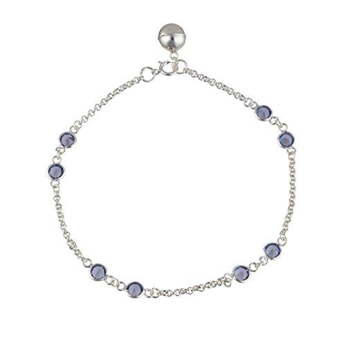 Silverly Tobillera Mujeres de Plata de Ley .925 con Diamantes Circonitas Azul Pulsera de Tobillo