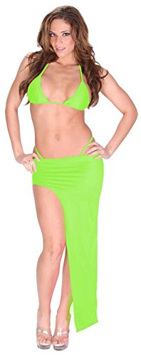 Sexy Exotic Dance Club Stretch Lycra Spandex Bikini and Asymmetrical Full Length Skirt Set for Women 6X (24-26) Lime Green