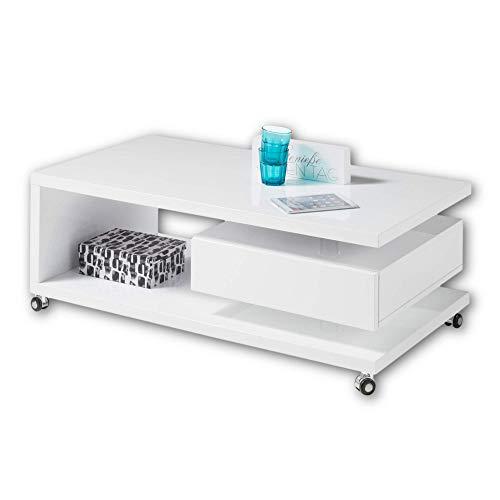 Stella Trading MILAN Moderner Couchtisch auf Rollen in Hochglanz weiß - mobiler Sofatisch mit Ablage & Schublade für Ihren Wohnbereich - 110 x 41 x 60 cm (B/H/T)