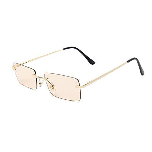 Gafas de Sol Sunglasses Gafas De Sol Rectangulares Pequeñas De Lujo para Mujer, Tonos Grises Y Rosas para Mujer, Gafas De Sol Cuadradas Sin Montura Vintage De Los Años 90