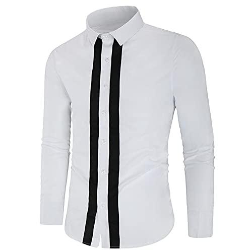 N\P Camisas de vestir de los hombres ocasionales de manga larga, Blanco, Large