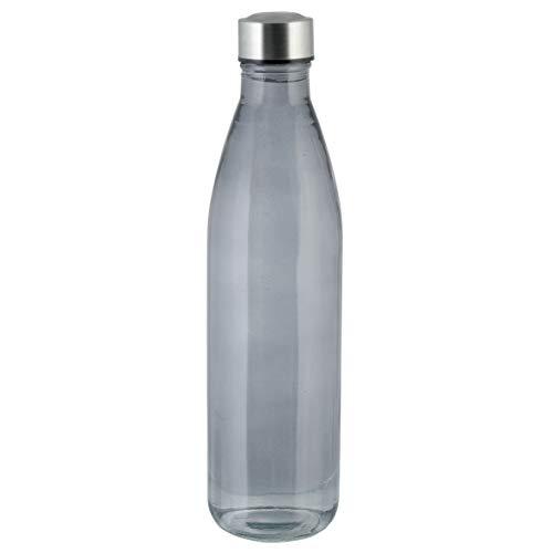 axentia Unisex– Erwachsene Wasserflasche Trinkflasche aus Glas, schwarz-transparent, 1 l