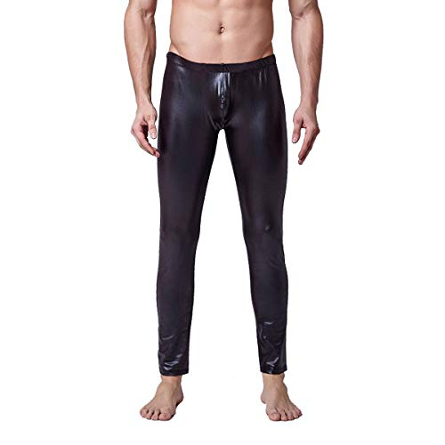 Herren Leder Leggings in Schwarz Latex-Optik enganliegend Lederhose Herren Stretch Hose wetlook leggings für Streetwear, latex leggings Lange Enge Hüfthose Kunstleder Meggings Lack leggings (L/XL)