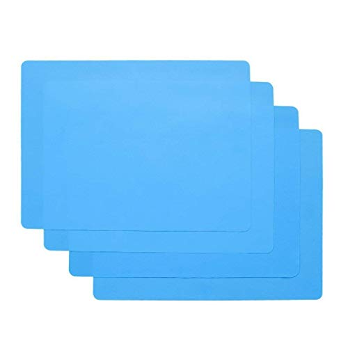 HomeDo 6Pack Waterproof Silicone Placemats, Non-Stick Baking Mat, Non-Slip Dining Placemat for Kids, Heat Resistant Insulation Countertop Protector Pads, Thicken (Blue, 15.75x11.81Inch-6pack)