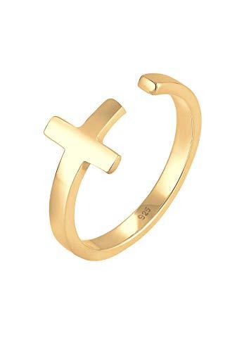 Elli Ring Damen Kreuz Glaube Geo Größenverstellbar in 925 Sterling Silber
