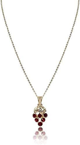 qiangloushui Collar Collar Trendy Lady Cute Colgante Collar Corto Cadena Fina De Color Dorado con Collar Colgante De UVA Roja para Regalo De Amistad