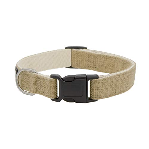 Khaki Hemp Dog Collar. Natural, Chemical Free Dog Collars for Your Fuzzy Friends with Sensitive Skin. an Environment Friendly Collar Made of Sustainable Hemp with no Harsh Dyes or Chemicals.