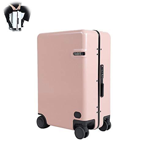 TWW Intelligent Und Automatisch Dem Elektrischen Koffer Folgen, Um Zu Reisen, Kann Der Trolley Gepäck Fingerabdruck Koffer Fahren,Rosa