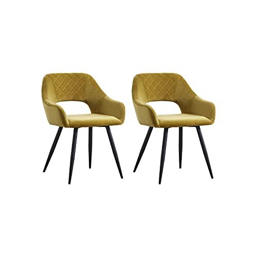 AINPECCA Esszimmerstühle, Samt, gepolstert, mit schwarzen Metallbeinen, für Wohnzimmer, Lounge, Rezeption, Restaurant (Samt, Senf, 2)
