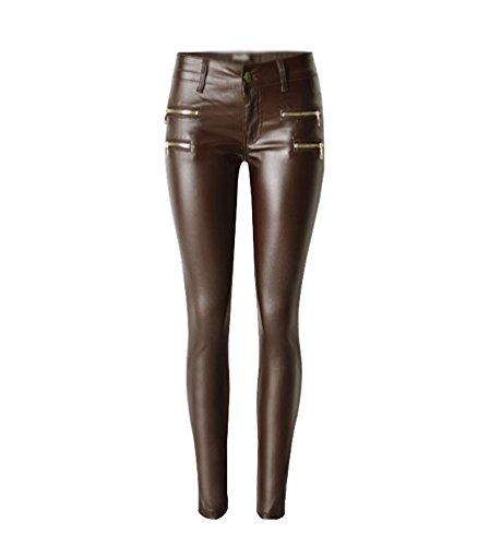YiLianDa Donna Pantaloni Lunghi in Pelle PU Vita Alta Leggings Lungo 42