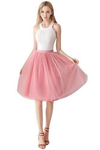 Babyonlinedress Damenrock Tüllrock Elasthan Band Tutu 50er Karneval Tanzkleid Unterkleid Crinoline Petticoat für Rockabilly Kleid, Altrosa-1, One Size / Einheitsgröße