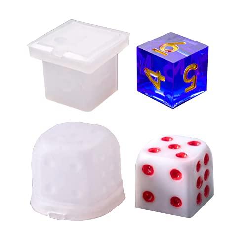 2 moldes de dados de resina, multiespecificación digital juego silicona molde, para amantes de la resina, juegos de mesa de bricolaje