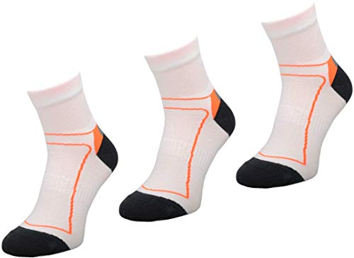 Comodo 3 Paar Bequeme Fahrrad-Socken | Funktionssocken | Bike | Mountainbike | Rennrad | Sport | Radfahren | Biking | BIK1 White/Orange 35-38