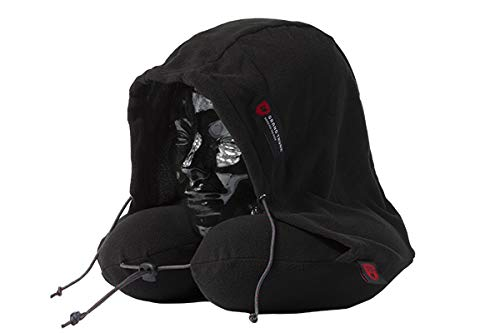 Grand Trunk Hooded Travel Pillow: 360 Neck and Head Support, High-Grade Memory Foam, Adjustable Light-Blocking Hood, Carry Bag Included - Perfect for Car or Airplane Sleeping