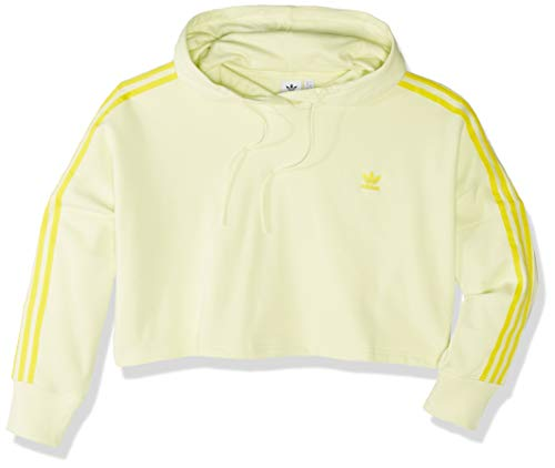 adidas Originals Women's Cropped Hooded Sweatshirt, ice yellow, Large