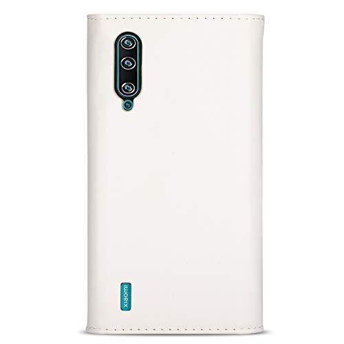Hicaseer Capa para Mi CC9, capa flip de couro PU e compartimento duplo para cartão com alça de pulso com suporte magnético para Xiaomi Mi CC9/A3 Lite/ 9Lite - Branco