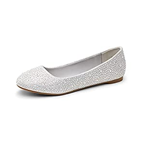 DREAM PAIRS Women's Sole-Shine Silver Rhinestone Ballet Flats Shoes - 9 M US
