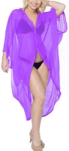 LA LEELA Corta De La De del Verano De Las Mujeres del Verano Que Cubre La Cubierta Superior De La Rebeca del sólida Kimono Llanura del MantóN De La Gasa Violeta_X685