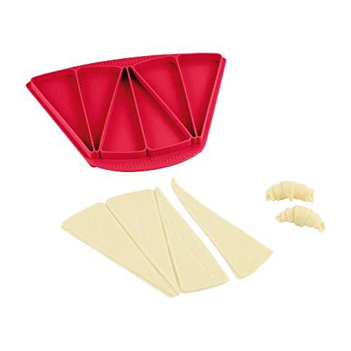 Moldes de silicona para 6 moldes de pastel de croissants, color rojo (molde de silicona, 3 grandes croissants)