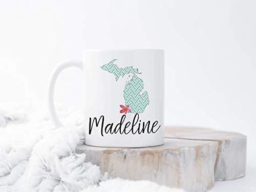 Taza personalizada de Michigan, taza personalizada de Michigan, taza personalizada del estado de la aduana, taza del estado de encargo, regalo de Going Away tazas, mudanza, taza, 11 oz