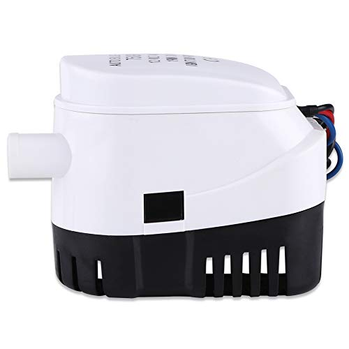 Automatische waterpomp, wigpomp, dompelpomp, kunststof, 12 V, voor boot, vijver, zwembad, wit en zwart, 750 ballonnen