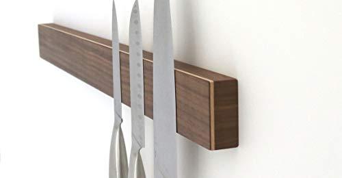 STREIFHOLZ Messerleiste magnetisch aus Holz, hochwertige Magnetleiste für Messer, edles Design mit starken Magneten in der Küche, selbstklebend ohne Bohren, (Länge: 589mm für 10 Messer, Nussbaum)