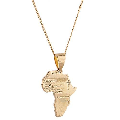 Collar con colgante de mapa africano relleno de oro de 18 quilates con cadena para hombre y mujer de Hip Hop