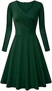 LONGYING Women's Casual Solid Color Long Sleeve Vintage Cross V-Neck Pleated Dress Party Swing Elegant Midi Dress