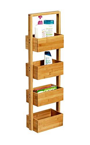 Spetebo Soporte de bambú con 4 estantes, 88 x 28 x 15 cm, soporte decorativo para baño o cocina